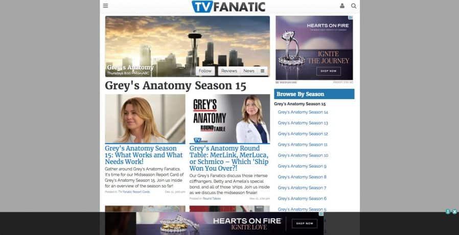 A screen capture of TV Fanatic.