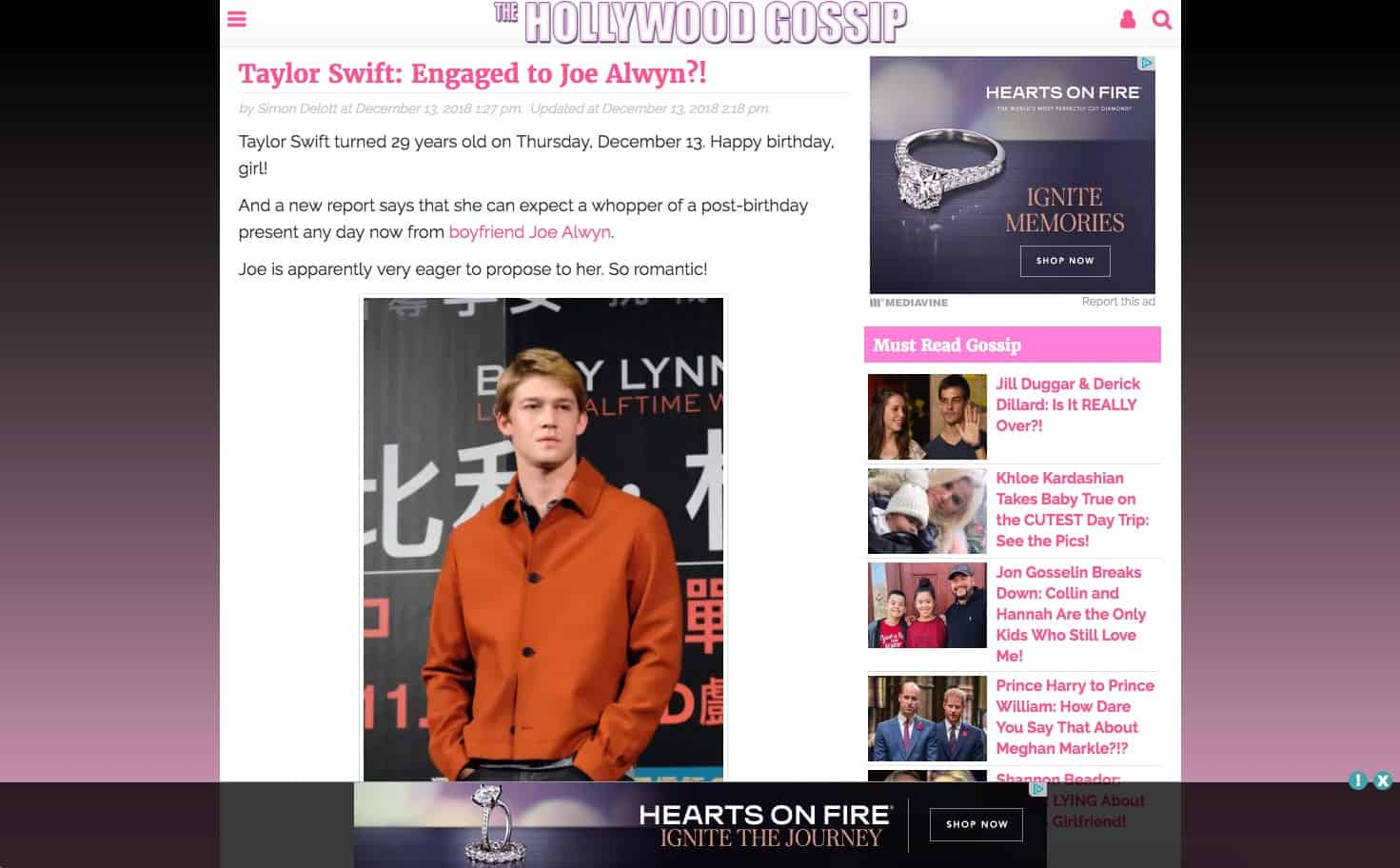 A screen capture of The Hollywood Gossip
