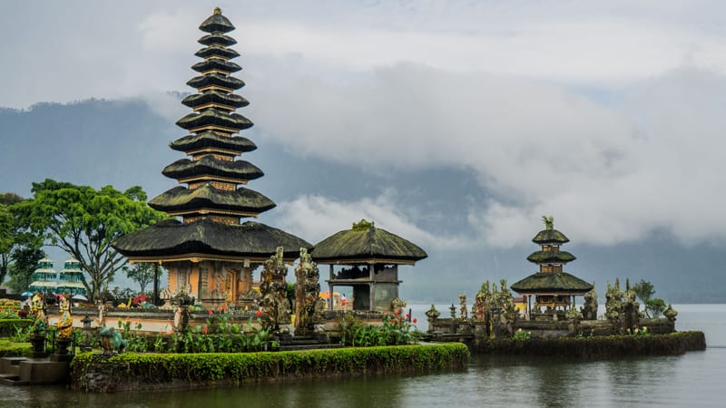 A floating temple in Bali, Indonesia.