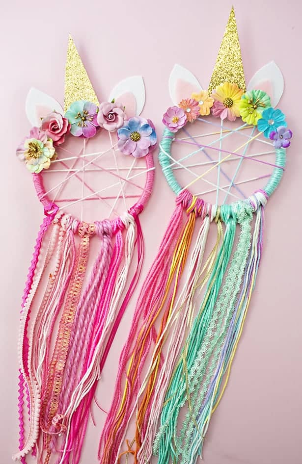 Unicorn dream catcher crafts.