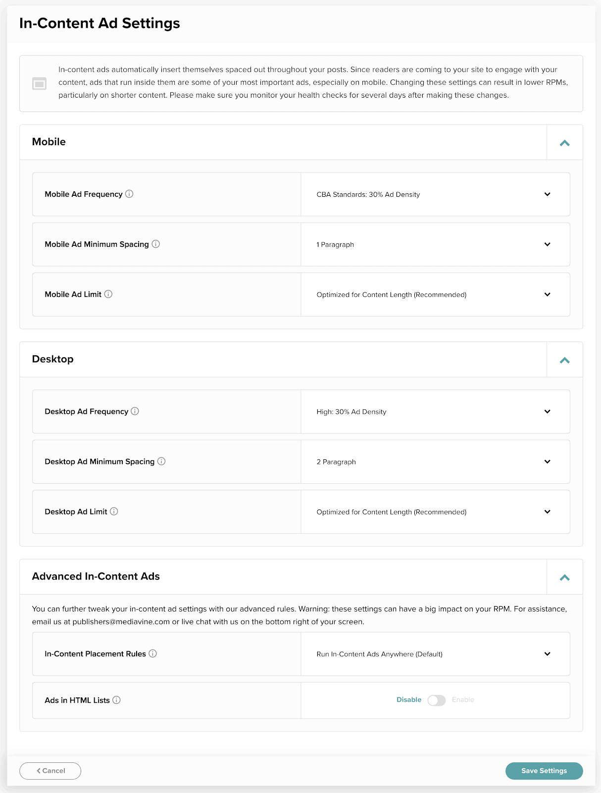 mediavine in-content ad settings