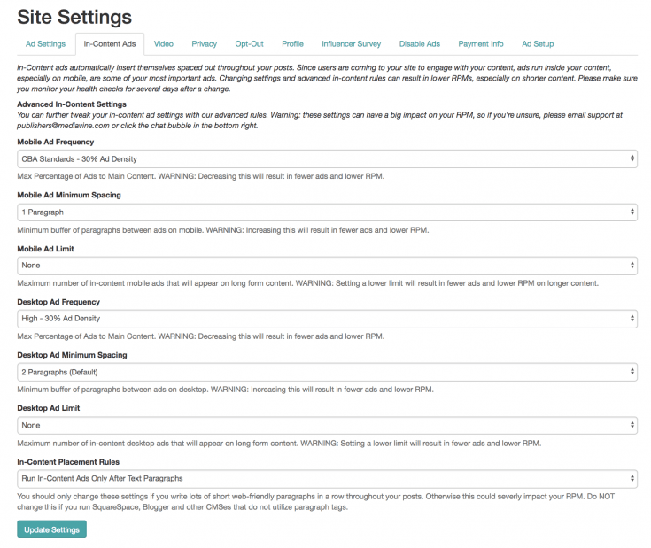 Mediavine dashboard settings