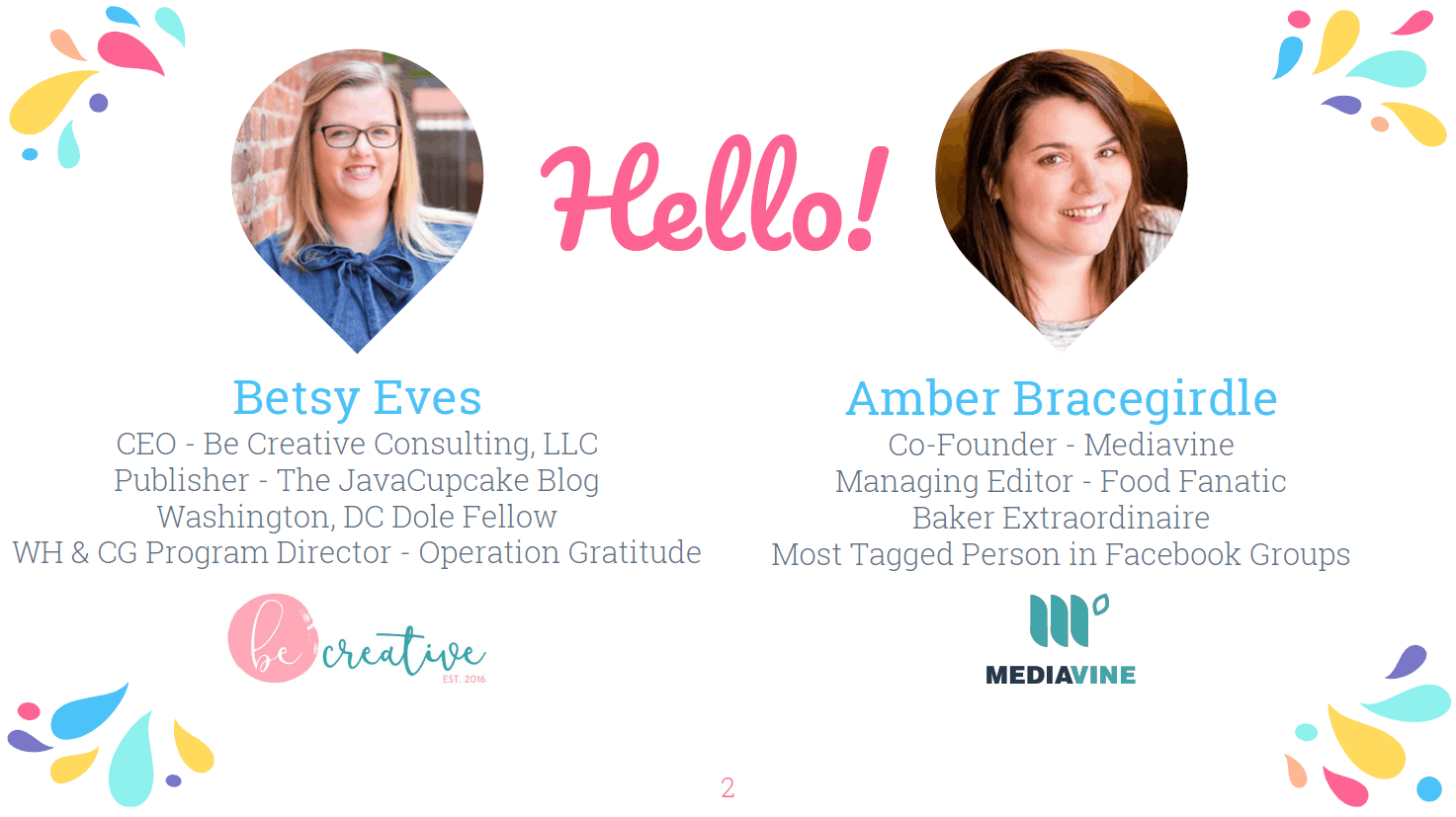 A graphic introducing Betsy Eves, of Be Creative Consulting, LLC, and Amber Bracegirdle, Mediavine.