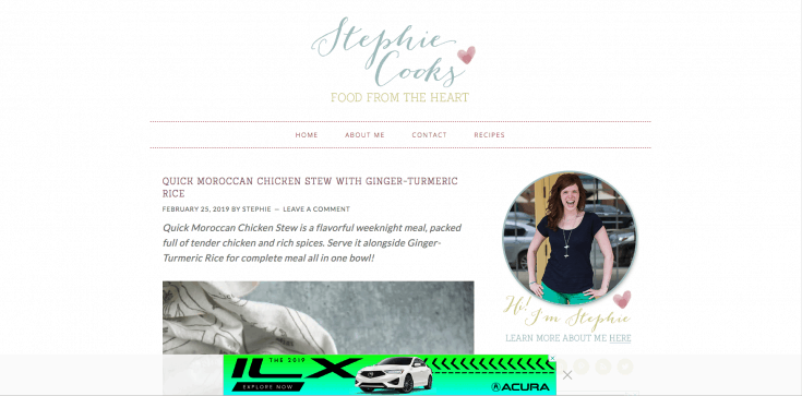 The home page of Stephie Cooks, showing the light adhesion theme.