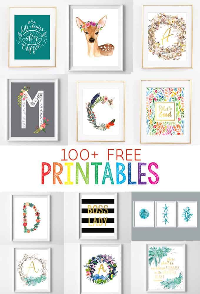 100+ free printables Pinterest image from burlap+blue
