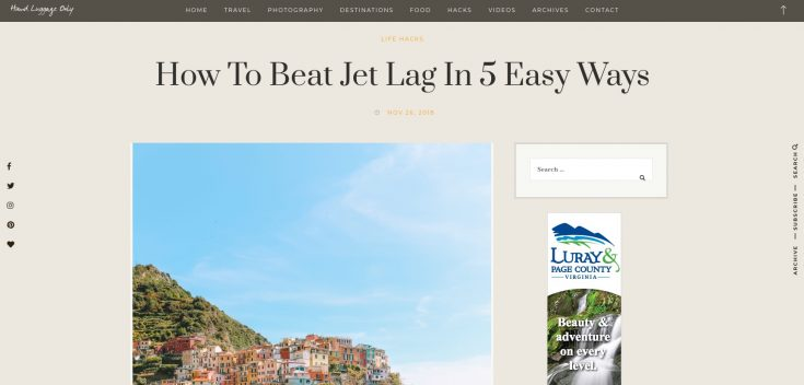 "A screen capture of Hand Luggage Only's website, showing a post for ""How to Beat Jet Lag in 5 Easy Ways""."