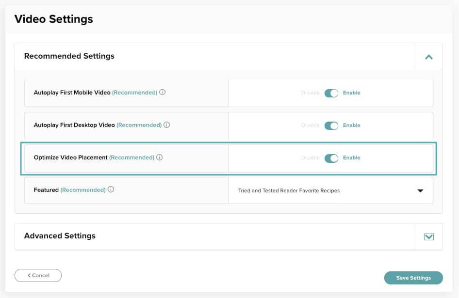 screenshot of how to enable Optimize Video Placement in the Mediavine dashboard