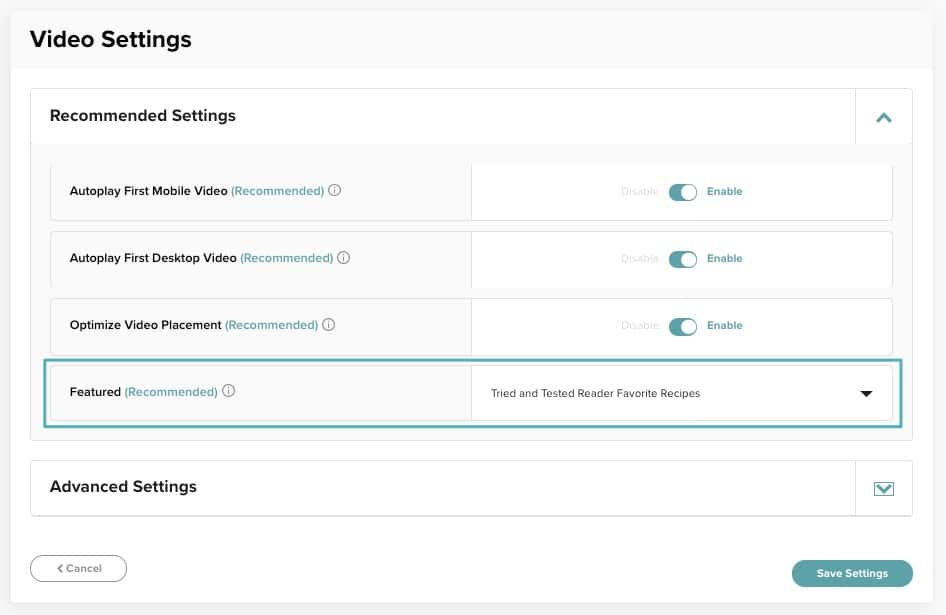 screenshot of how to enable a featured video in the Mediavine dashboard