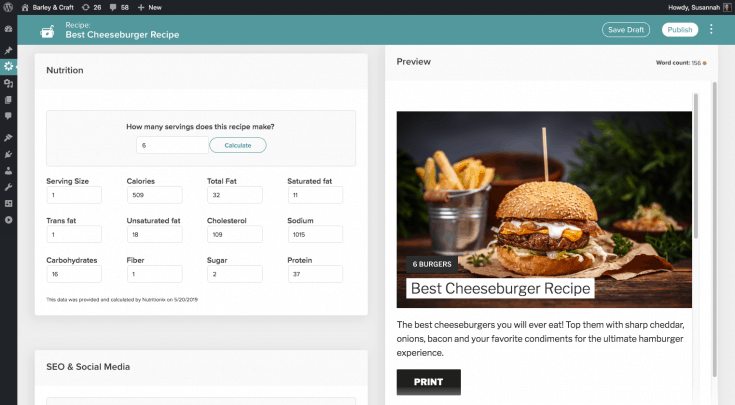 A screenshot of using the Nutrition calculator in the Create card back end.