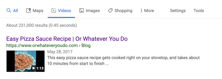 An example of Google's video schema at work, displaying a video search result for Easy Pizza Sauce from Or Whatever You Do.