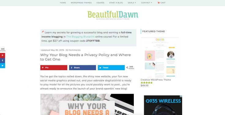 A screen capture of the Beautiful Dawn home page.