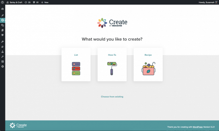 Screen capture of the Create card creator.