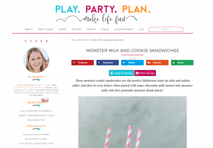 A screen capture of the Play Party Plan homepage.