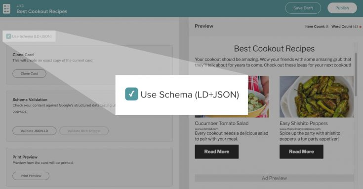 Screen capture of the Create card maker, highlighting the Use Schema enable/disable checkbox.