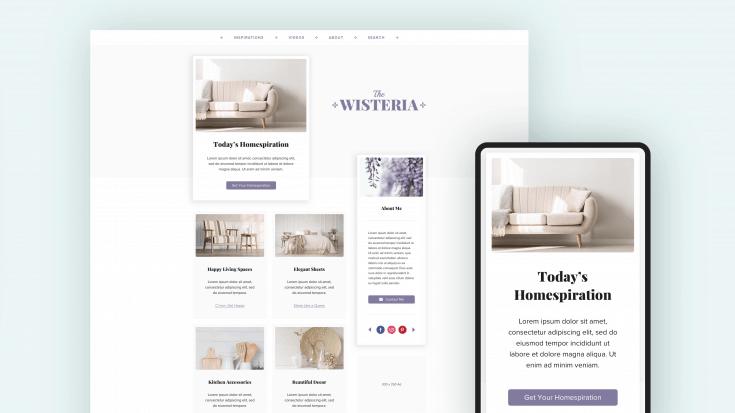 Desktop and mobile previews of Wisteria.
