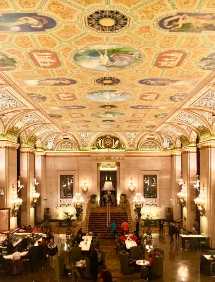 The lobby of the Palmer House Hotel.