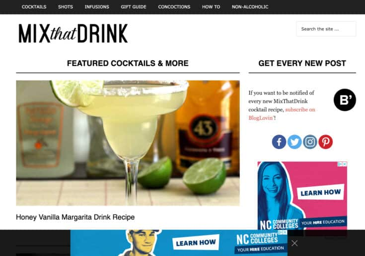 The homepage of Mix That Drink
