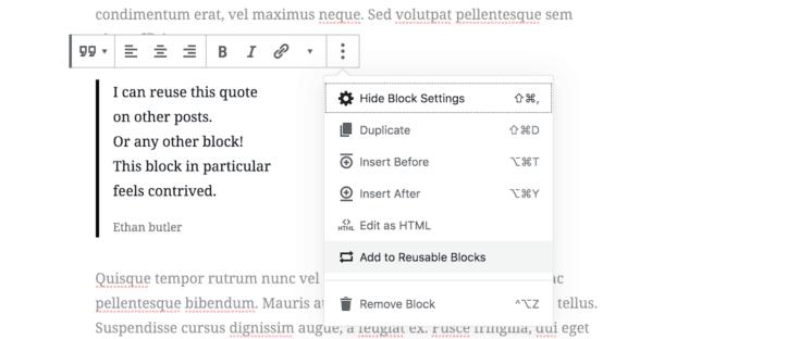 Screen shot of reusing a block.