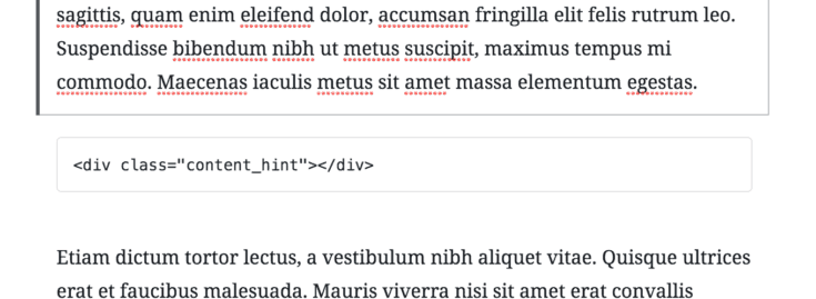 Screenshot of an HTML block in between two paragraphs.