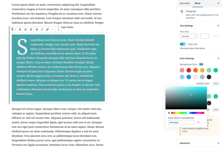 Paragraph blocks have inline and sidebar settings.
