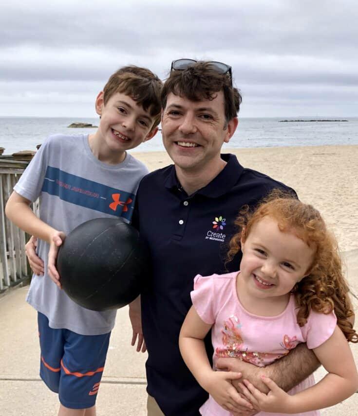 Steve Marsi with his children.