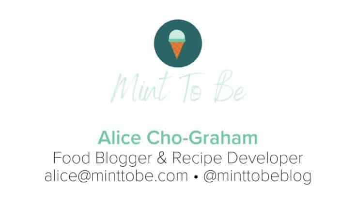 Business card example from Alice Cho-Graham, for Mint To Be.