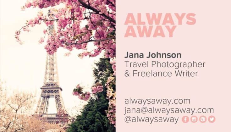 Business card example for Jana Johnson, for Always Away.