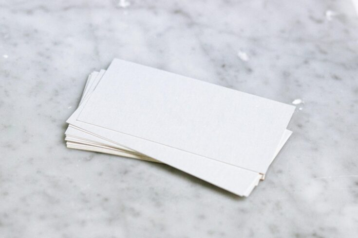 A stack of blank business cards.