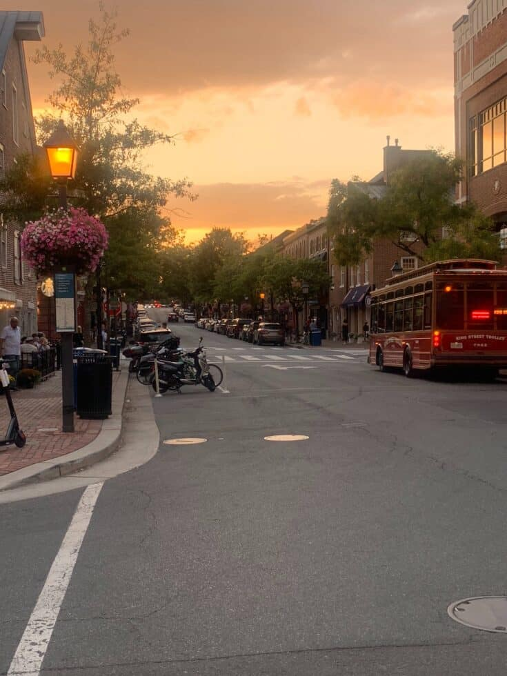 A streetview photograph at sunset, featuring hanging baskets of flowers, newly-lit streetlamps, and a red bus.