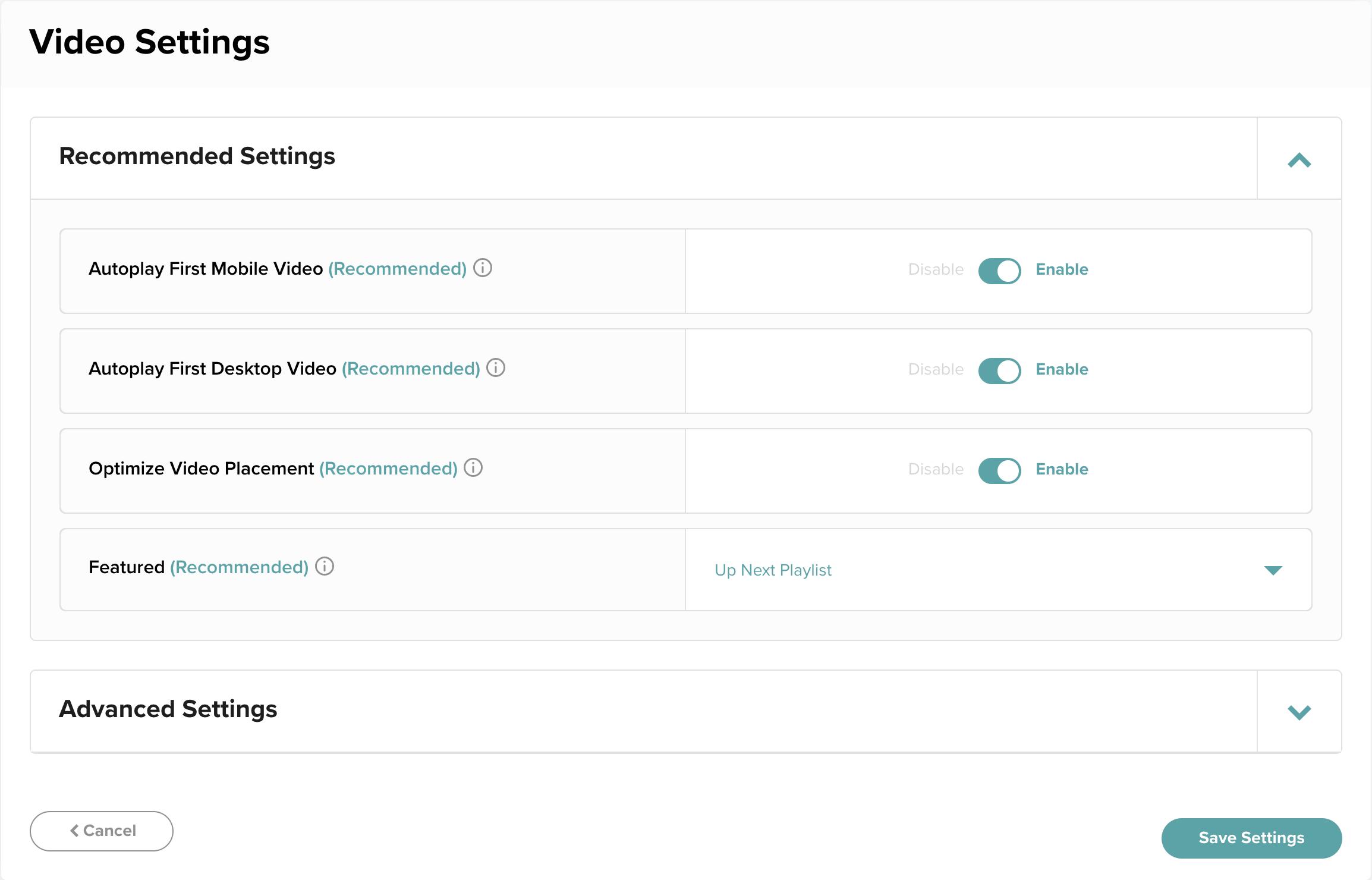 Screenshot of the Mediavine Dashboard video settings