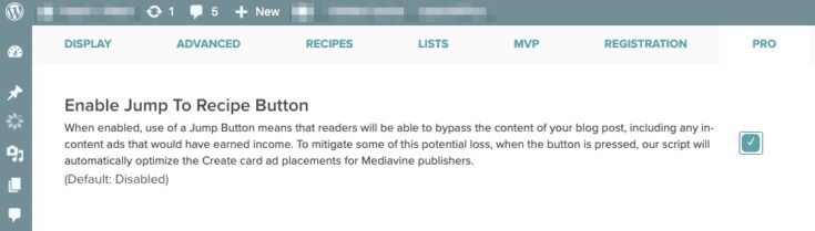 enable jump to recipe button in wordpress