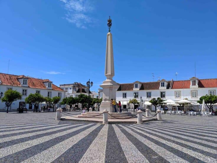 A central plaza in Vila Real de Santo António, Portugal.