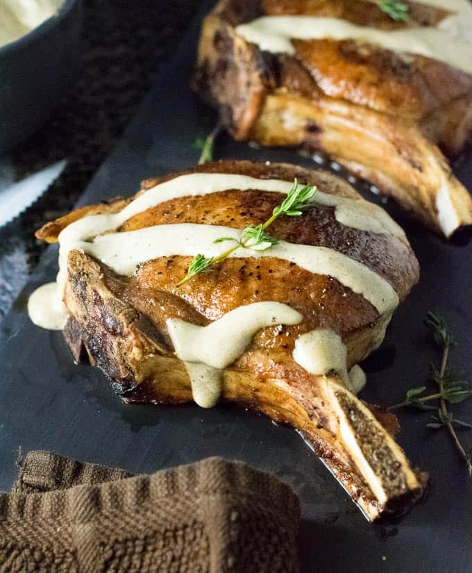 Pan-seared pork chops with Dijon cream sauce