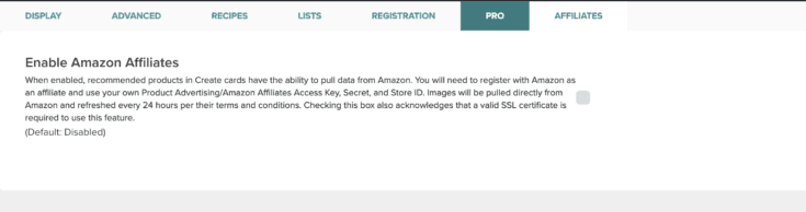 Screen capture of where to enable Amazon Affiliates.