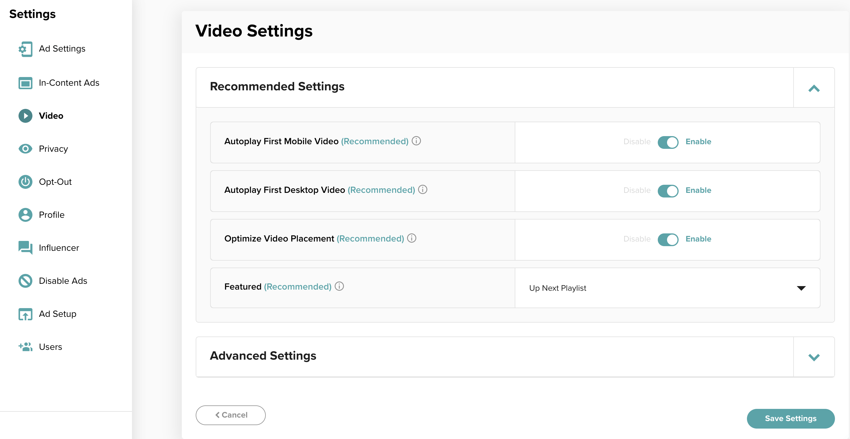 "Screenshot of video settings in the Mediavine Dashboard with ""Up Next"" selected for the ""Featured"" setting"