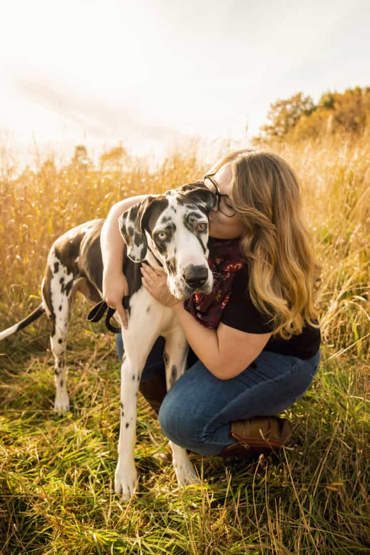 Trista, along with her Great Dane, Fritzie.
