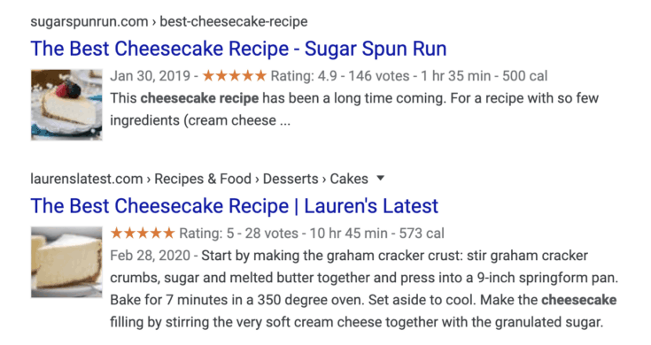 Cheesecake recipe search results