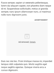 Google Chrome Ad blocking screenshot