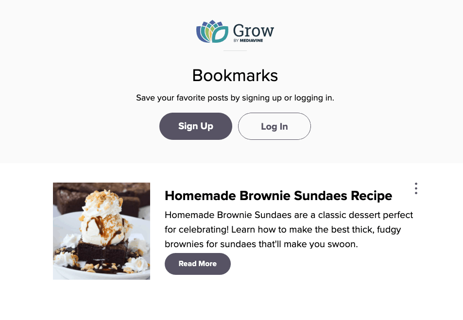 screenshot of Grow.me bookmarking tools