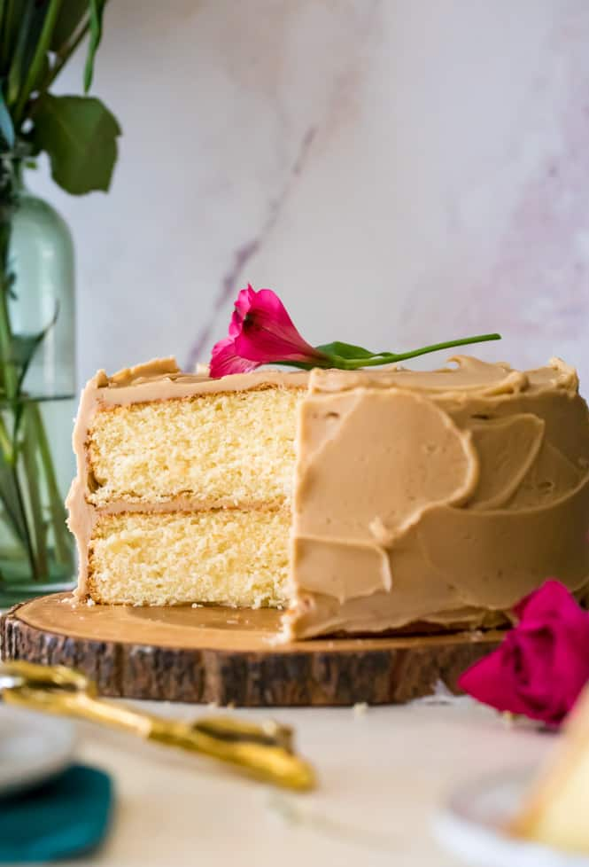caramel cake with a flower on top