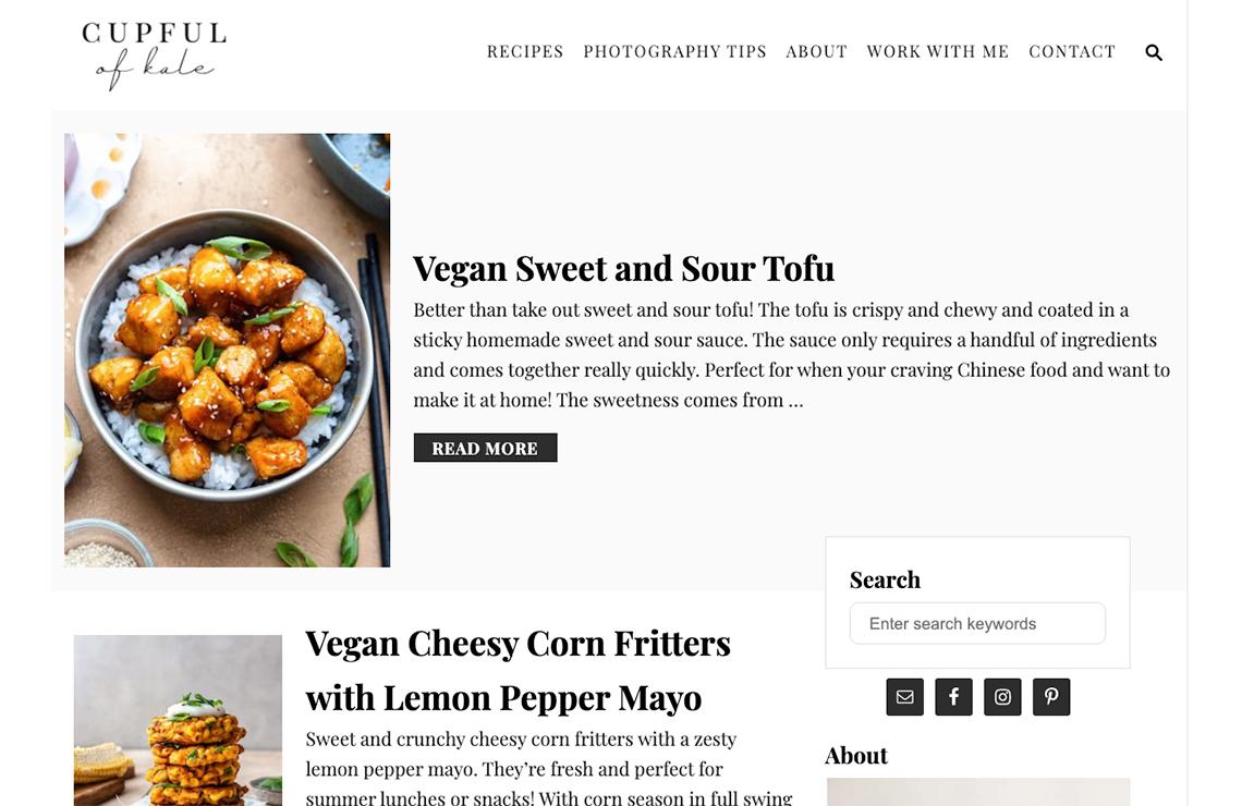 screenshot of cupful of kale running trellis on the homepage