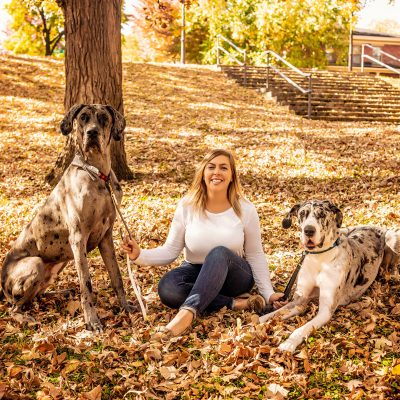 karla sitting with two great danes in a pile of fall leaves