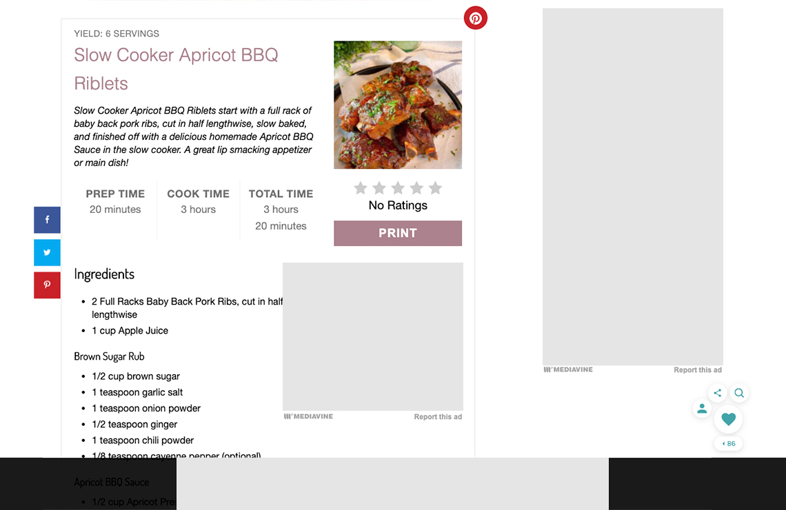 screenshot of a recipe card on norine's nest website running trellis by mediavine