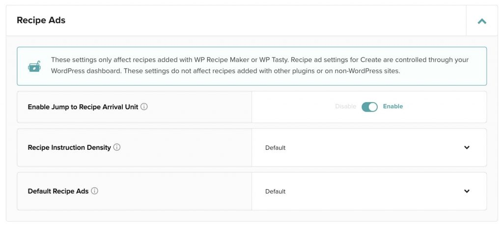 screenshot of mediavine recipe ad settings