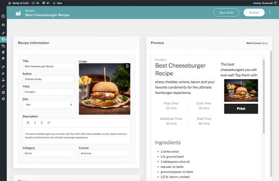 screenshot of creating a recipe card