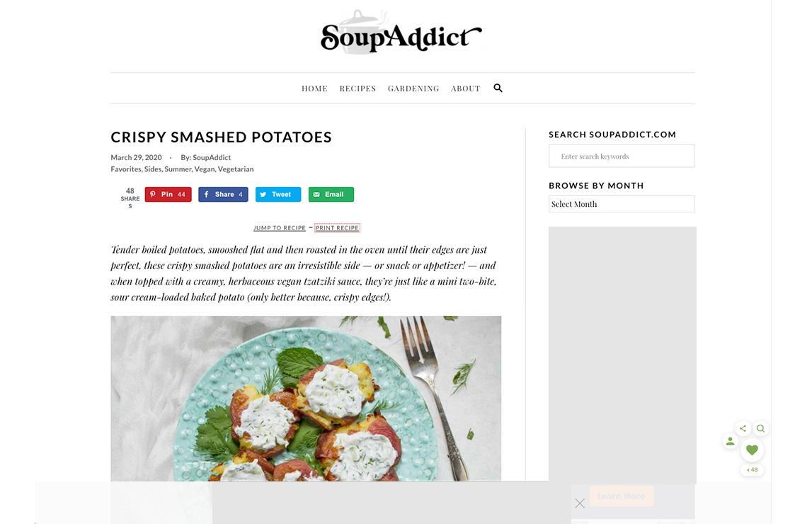 screenshot of the site soup addict running mediavine trellis
