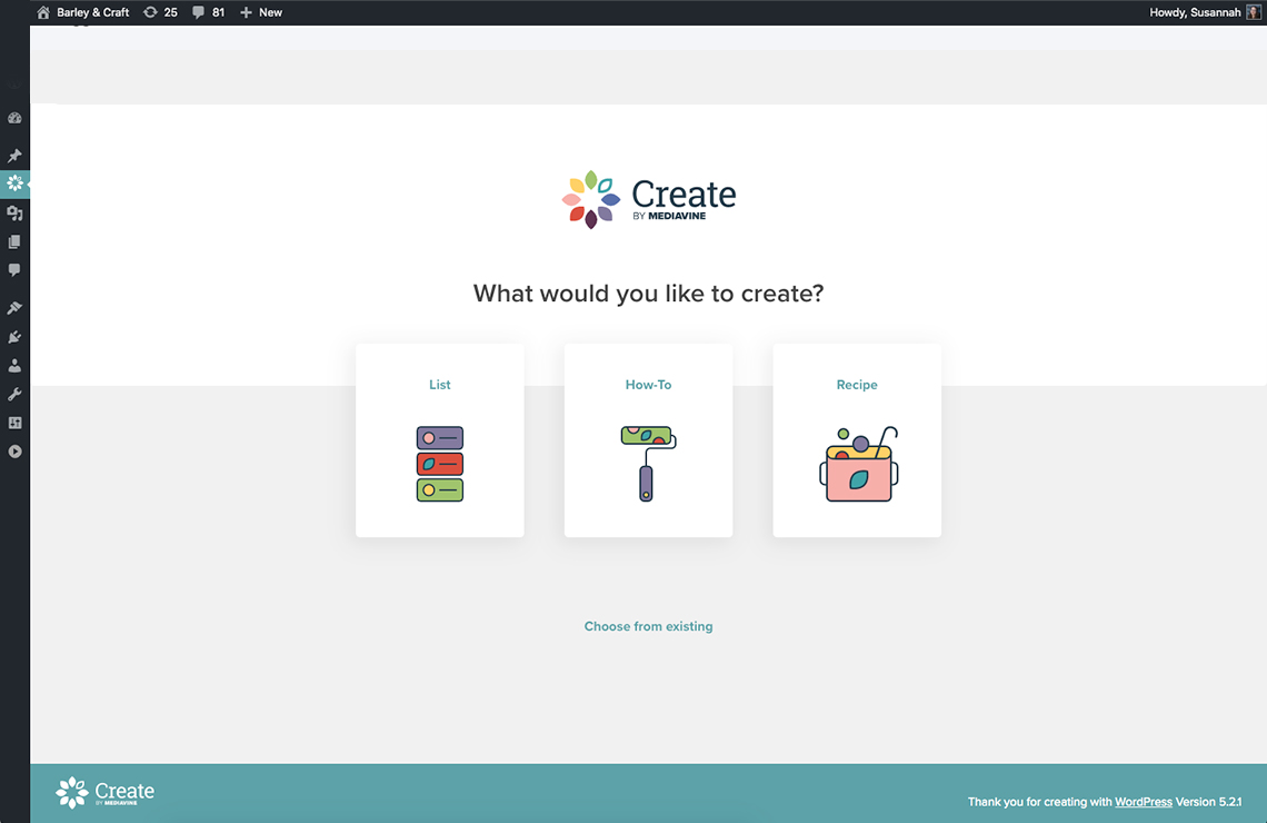screenshot of choose a create card screen