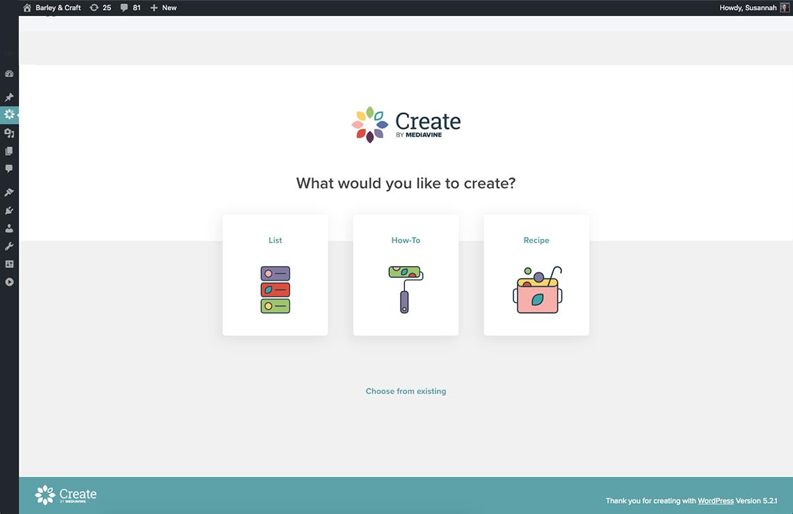 screenshot of choose a create card screen