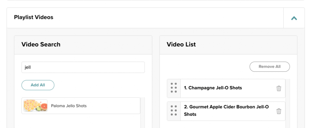 screenshot of adding videos to a playlist in the mediavine dashboard