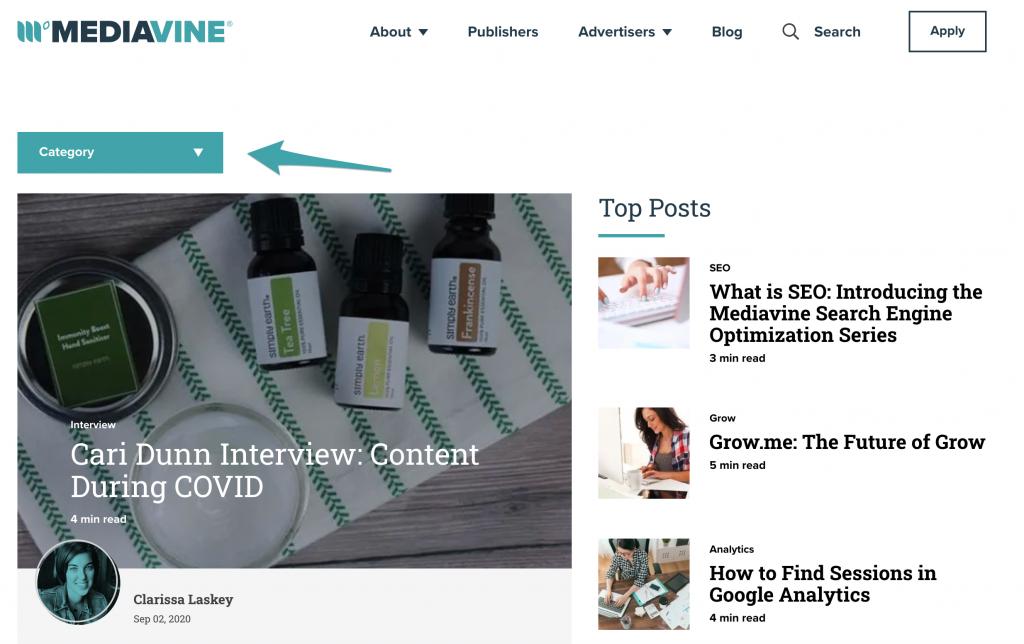 screenshot of the mediavine blog homepage